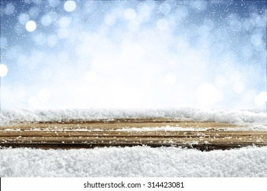 desk of wood and snow
