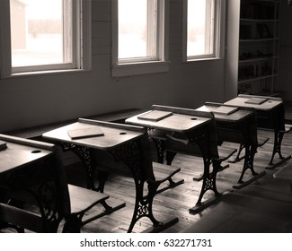 Desks and books in old school house