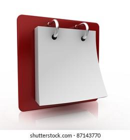 desktop blank calendar 3d render