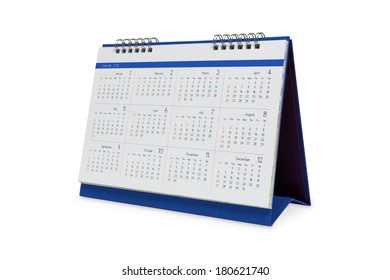 Desktop calendar 2015 isolated on a white background with clipping paths.