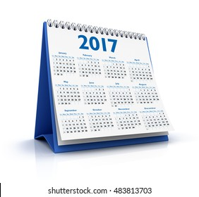 Desktop Calendar 2017 isolated  3D Rendering