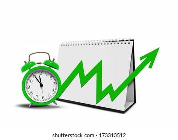 Desktop Calender with Arrow Chart and Alarm Clock