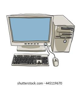 desktop computer hand drawn art painting cute illustration