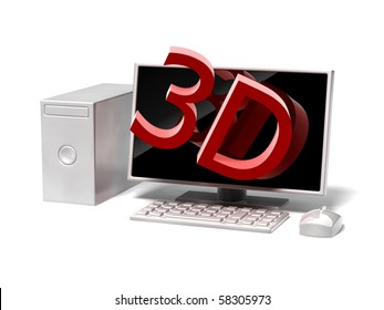 desktop computer icon with monitor on white background