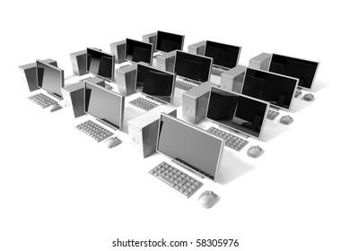 desktop computer icon on white background , net