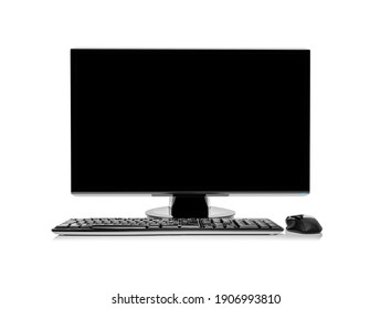 Desktop computer or computer monitor isolated on white background.