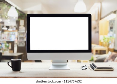 desktop computer white frame on work table