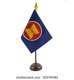 a desktop flag pole of AEC symbol, ASEAN economic community (please see my portfolio for all desktop version of all country flags in southeast asia like this image)