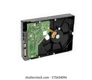 desktop hard disk drive on white background