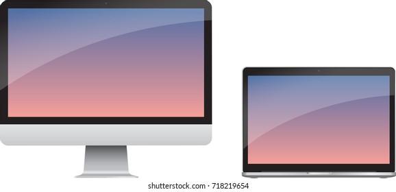 Desktop and laptop technical illustration rendering