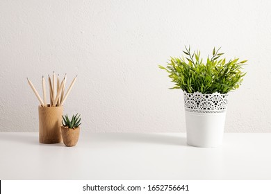 Desktop mix on a white office table.