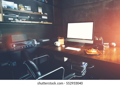 desktop in modern loft interior with advanced computer for perfect creative freelance work and stationary - Interior Design Freelance Work