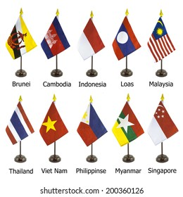 Desktop national flags for the AEC member, asean economic community flagpoles isolated on white background, Photo