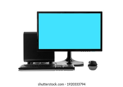 Desktop personal computer on white background.