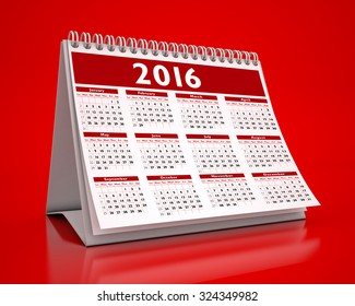 Desktop Red Calendar 2016 isolated