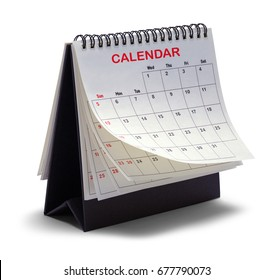 Desktop Tent Calendar Isolated on White Background.