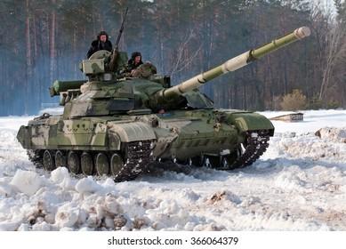 Desna, Ukraine - February 23, 2013.  Tank T-64BM BULAT.
