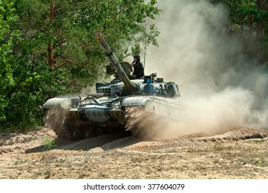 Desna, Ukraine - June 02, 2011. Ukrainian main battle tank T-64B on the move in the forest.