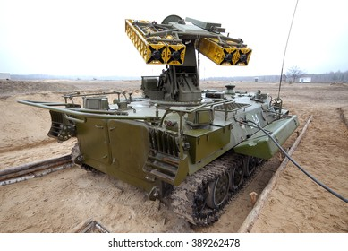 Desna, Ukraine - March 24. 2008. The Strela-10 (SA-13 Gopher) is a mobile, optical/infrared-guided surface-to-air missile system at the poligon