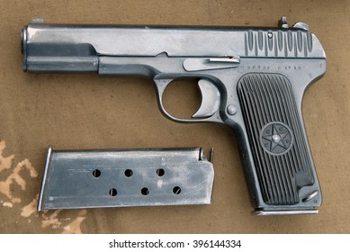 Desna, Ukraine - May 8, 2007.  Tokarev TT automatic pistol and ammunition holder.