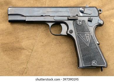 Desna, Ukraine - May 8, 2007.  9-mm military pistol VIS sample 35 (Poland),1935