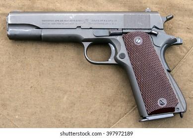 Desna, Ukraine - May 8, 2007.  11,43-mm military pistol Colt M1911A1.