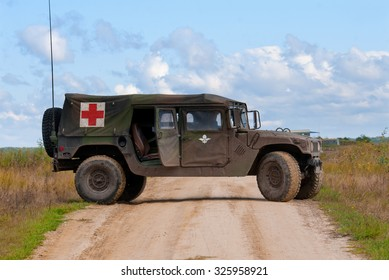 Desna, Ukraine - October 2, 2013. HMMWV ambulance during military exercises
