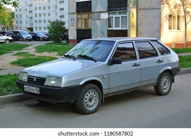 DESNOGORS, RUSSIA - MAY 9, 2016: Lada Samara VAZ-2109 made in Russia designed in USSR compact 1980s car on the street.