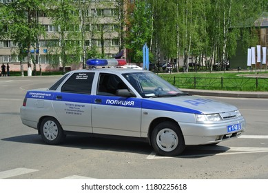 DESNOGORSK, RUSSIA - MAY 9, 2016: Russian police car Lada 110 on duty. VAZ-2110 made in Russia compact car.