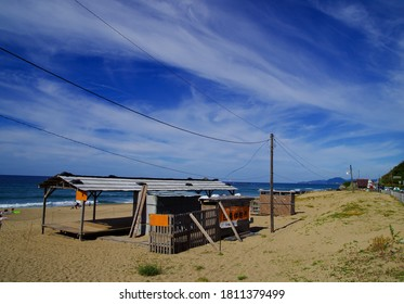 Desolate beach hut end of summer season  白兎休憩所=Hakuto rest hut 神話の地= place of mythology きれいな海 = beautiful sea