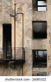 desolate building with broken windows in Athens