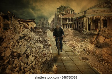 Desolate cities, in which the cyclist rides