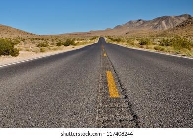 Desolate Desert Road in Nevada