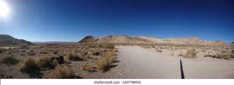 Desolate hilly desert panoramic landscape in Mojave near Rhyolite Ghost Town - Nevada