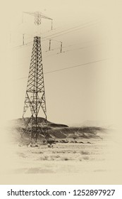Desolate infinity of the Rocky hills of the Negev Desert in Israel. Electrical power lines on pylons in the landscape of the Middle East. Black and white photo