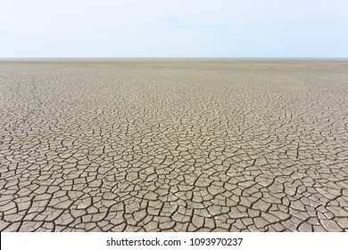 Desolate landscape with cracked ground at the seashore. Brown, beige, light tan and grey colored. Concept of global warming.