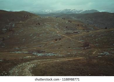 Desolate mountain trails. Abruzzo, Italy