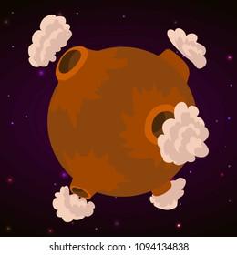 Desolate planet concept background. Cartoon illustration of desolate planet concept background for web