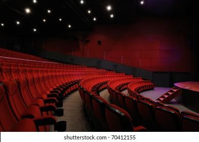 Desolate red cinema hall