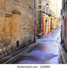 A desolate street in Aix-en-provence, France.