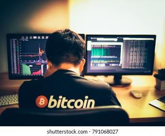 Despair man on down stock bitcoin graph market background.