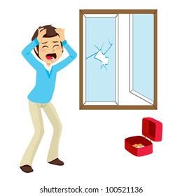Desperate burglary victim finds broken window and empty money box after robbery