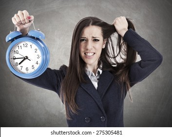 desperate business woman with clock