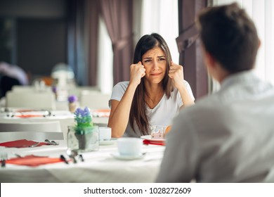 Desperate crying woman fighting and arguing.Hearing bad news,negative event reaction.Emotional face,disappointed person.Problems in life,relationship and work.Anxious woman complaining.Asking for help
