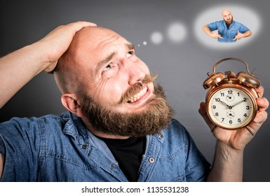 desperate man because late with the alarm