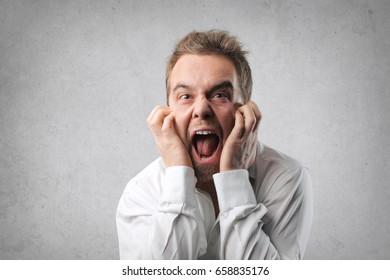 Desperate man screaming