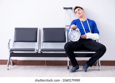 Desperate man waiting for his appointment in hospital with broke