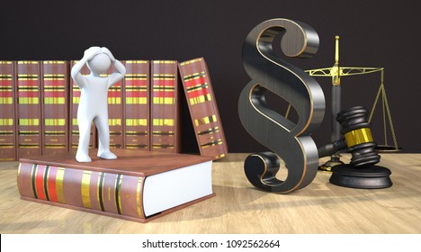 Desperate manikin on the law book on the table with a paragraph, scale and gavel. 3d illustration.