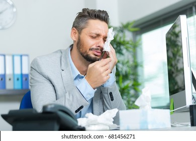 desperate office worker crying