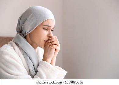 Desperate woman after chemotherapy at home